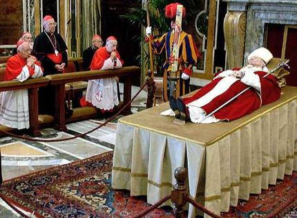 Deceased Pope in Santa-like Costume