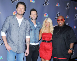 The Voice Judges, Cee Low Green, Adam Levine, Blake Shelton, and Christina Aguilera
