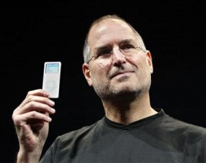 Steve Jobs holding up the new iPod Nano